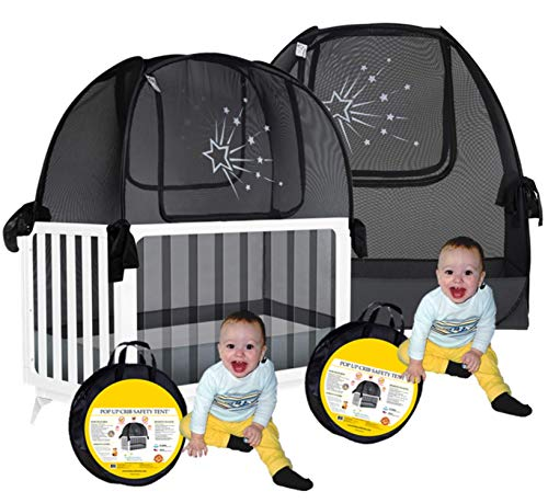 Aussie Cot Net - Twin Pack 2 Popup Baby Crib Tents - Premium Net Cover Crib Tent to Keep Baby from Climbing Out - See Through Crib Netting - Nursery Mosquito Net