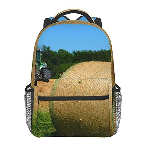 BYETWIK Schulrucksack Schultaschen Mädchen Jungen Teenager Rucksack, Gras Heu Traktor Farm Schultasche Schulrucksäcke Backpack für Damen Herren Geeignet