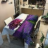 Mesa de Comedor de Lavanda para el hogar, Mantel Rectangular Impermeable y a Prueba de Aceite, Alfombra de Picnic de Fiesta de Moda a Rayas M-2 140x210cm