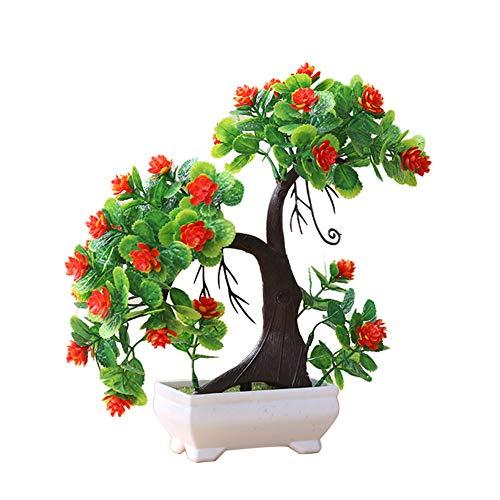 Achidistviq 1pièce artificielle Branche d'arbre Plante Faux Fleur Home Decor photographies Valentine Arbre Simulation Plante en pot Boule d'herbe bonsaï Décoration de la Maison Orange
