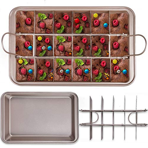 Brownie Pans with Dividers Multifunction Divided Non Stick Tray with Grips, Bakeware Set Oven Lids Square Pan with Built-in Slicer, Kitchen Brownie Pan for Baking Cake Biscuit, Champagne Gold 12''X8''