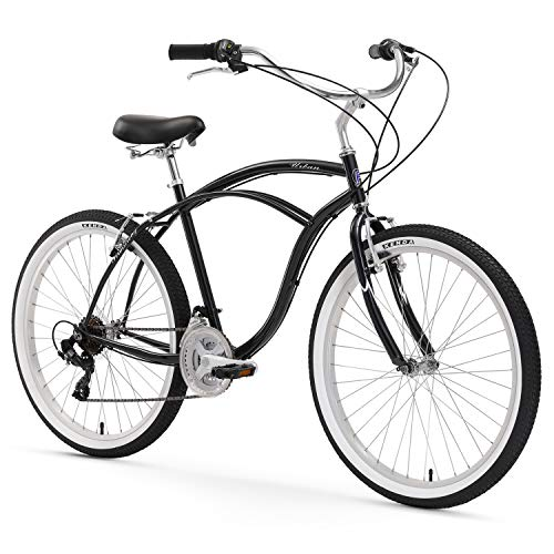 Firmstrong Urban Man Beach Cruiser Bike, Mens Bicycle 26-Inch, 3-Speed, Black