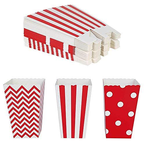 Ikruidy Scatole per Popcorn 36 Pezzi Sacchetti per Popcorn Contenitore per Caramelle di Cartone per Cinema Tavoli da Dessert Bomboniere Rosso
