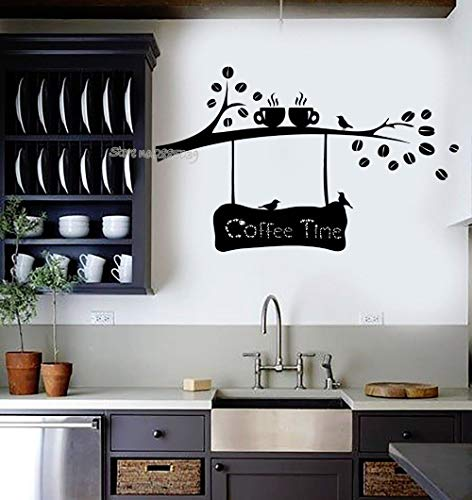 Café Time Citate wandstickers, vinyl, koffiebonen, tak, kop, vogels, keuken, decoratie, café, winkel, muurstickers, 91 x 56 cm