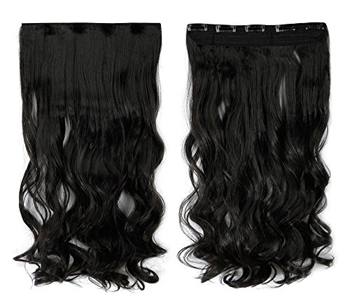 S-noilite Natural Black 17 Inches Long Curly One Piece Clip in Hair Extensions (5 Clips) Clip Ins Hairpiece for Women Lady Girl