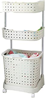 Japanese Style 3 Tiers Laundry Basket Organizer Kitchen Bathroom Organizer Rack with Wheels