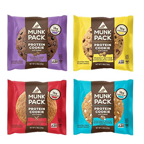 Munk Pack Protein Cookies 48 Pack Bundle (12 Pack Peanut Butter Chocolate Chip, 12 Pack Coconut While Chip Macadamia, 12 Pack Double Dark Chocolate & 12 Pack Snickerdoodle) from