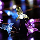 Joyathome Hummingbird Decorative String Lights 13.85 Ft 40 Cool White LED Waterproof Battery Operated 8 Modes Spring Fairy Lights for Holiday Parties Bedrooms Weddings Gardens with Remote and Timer