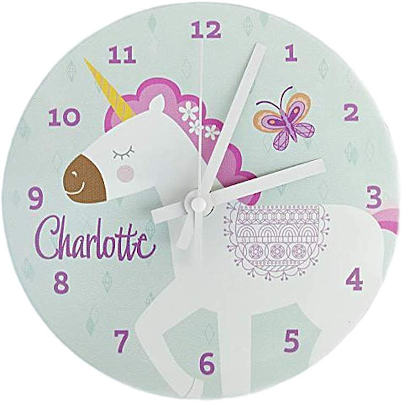Personalized Kids Wall Clock 8 Inch Colorful Kids Room Wall Decor Unique Kids Gifts Charlotte Design