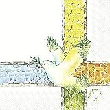 IHR L 909000 - Tovaglioli di carta, 20 pezzi, colomba, speranza, simboli cristiani, bianco, 16,5 cm x 16,5 cm, 3 veli