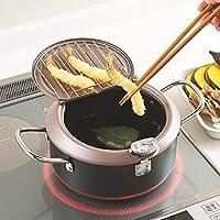 Yunhigh-uk Nueva sartén freidora con termómetro, freidora Japonesa Tempura con Cesta con Tapa para cocinar