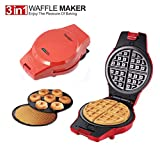 Sonifer 3-in-1 Multifunction 800W Safe Non-Stick Electric Sandwich Waffle Egg Rolls Donuts Maker Press w/ 3 Interchangeable Grill Plates Breakfast Machine(220V)