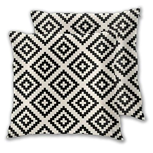 Juego de 2 fundas de cojín con patrón geométrico, color negro y crema, fundas de almohada cuadradas decorativas para dormitorio, sala de estar, 45 x 45 cm