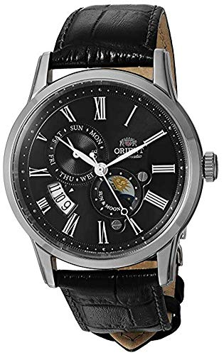Orient Men's Sun and Moon Version 3 Stainless Steel Japanese-Automatic Watch with Leather Calfskin Strap, Black, 21 (Model: FAK00004B0)