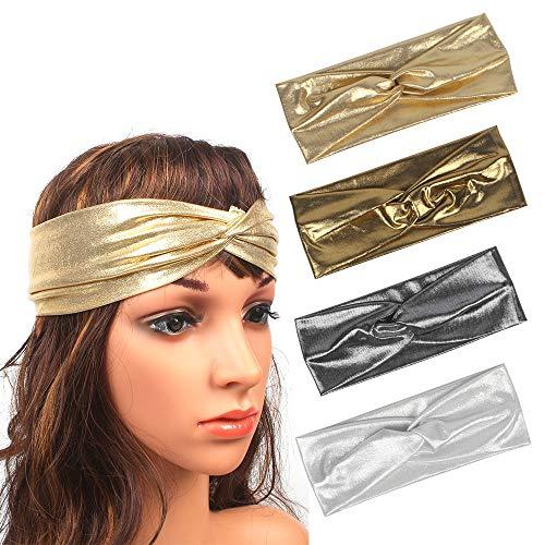 QTbfgt Fascia per capelli femminile oro e argento fascia per capelli selvaggia elastico croce arco accessori per capelli fascia giornaliera delle donne, argento chiaro