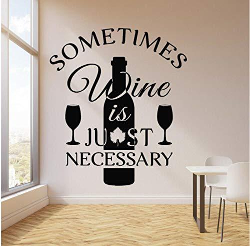 Citas de vino, calcomanía de vinilo para pared, bar, restaurante, letrero, cocina divertida, cita, bebida de vino, decoración del hogar, botella de vino, arte, mural, 49x42cm