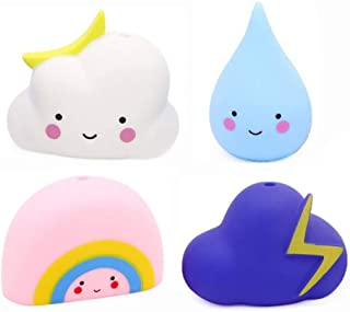4 Pack Soft Watering Bath Toys for Kids,Bathtub & Swimming Pool Toys Gift Set, Baby Hair Wash Tool (Rain, Cloud, Rainbow, ...