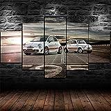 45Tdfc Foto Canvas Cuadro del FIAT Blanco Abarth 595 EVOLUCIÓN DE Coches  Fotografía Panorámica Impresa en Lienzo Cuadros Panorámicos Listos para Colgar Decoración 5 Piezas Tamaño 150x80cm
