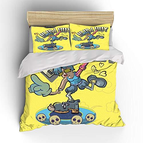 Het leuke Dekbed Cartoon Cover Bedding Set, dekbedovertrek voor jongens en meisjes, eenpersoonsbed voor tieners, tweepersoonsbed, comfortabele zachte microvezel,02,GB Single140cm×210cm