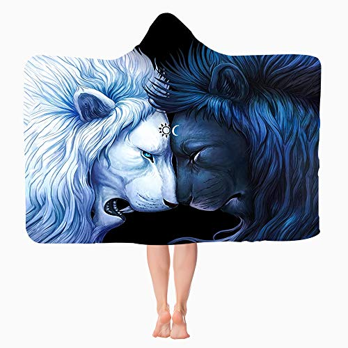 Lion Hooded Blanket Wearable Hooded Flannel Throw Blanket AntiPilling Super Soft Warm Hoodie Cape Wrap Blanket for Children and Adult#039s Gift Indoors or Outdoors All Season Lion 80quotx60quot