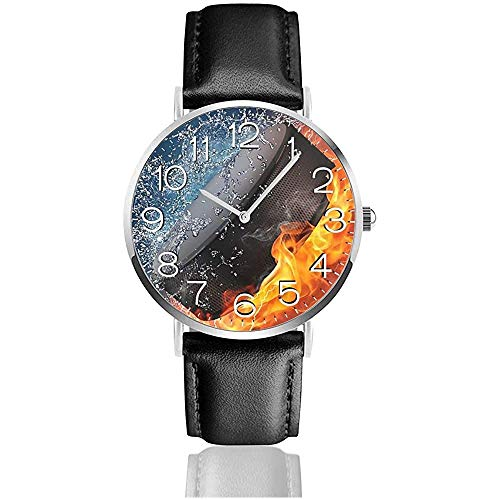 Einfache Pu Lederuhr Armbanduhr Freizeituhren, Quarz Business Uhr - Eishockey