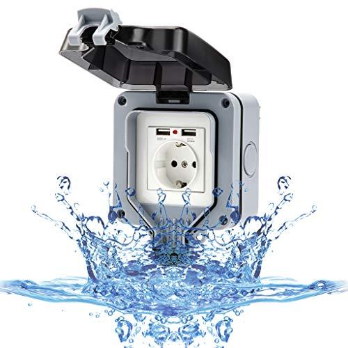 Außensteckdose Wandsteckdose mit USB Stecker für Außenbereich Steckdose Wasserdicht IP66 Staubdicht Gartensteckdose Aufputz Schutzkontakt für Feuchtraum Outdoor mit Klappdeckel