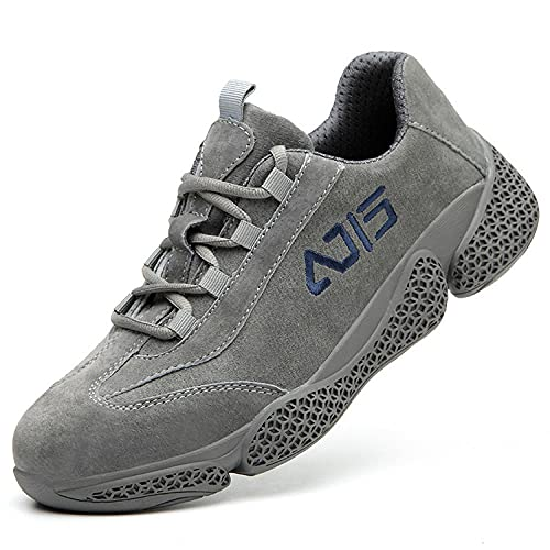 Safety Toe Shoes for menSafety Shoes, Anti-mite Anti-Puncture Work Shoes, Labor Insurance Shoes-Grey_38
