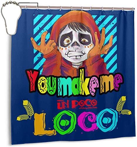Lucky girlfriend Wasserdichter Duschvorhang aus Polyestergewebe Sie Machen Mich zu einem dekorativen Badvorhang mit Poco-Loco-Aufdruck und Haken, 72 '' X 72