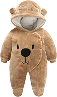 FENICAL Hooded Romper Cartoon Bear Warm Jumpsuit for Newborn Baby Boys Girls (Brown)