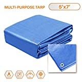 TANG Sunshades Depot Blue 5 Mil 5x7 ' Feet General Multi-Purpose Waterproof Multi Purpose Waterproof Poly Tarp Cover Tent Shelter Boat RV Pool Camping Tarpaulin