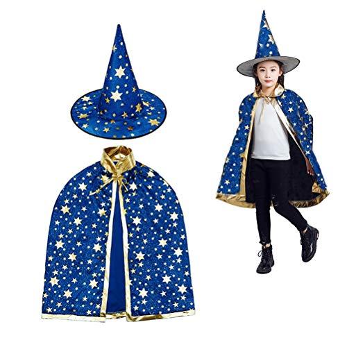 Deolven Cape du magicien,Chapeau de magicien et Manteau de Sorcière, Chapeau Magique Cape Sorcière la Cap Costume d'Halloween Enfants Bleu