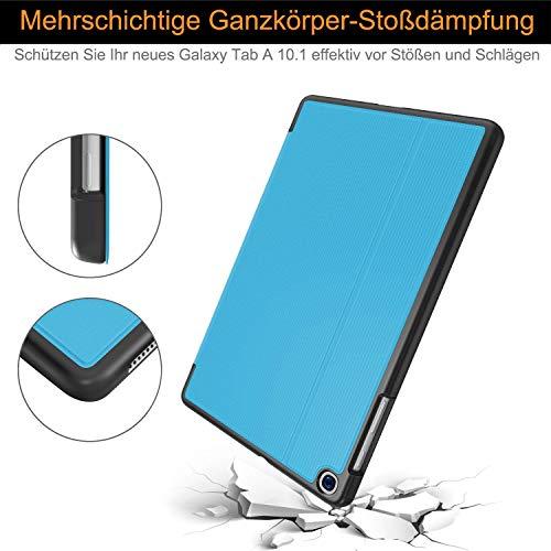 Soke Hülle für Samsung Galaxy Tab A 10.1 2019 (SM-T510/T515), Folio Ständer Ultraleicht TPU Schutzhülle für Galaxy Tab A 10.1 Zoll 2019, Hellblau