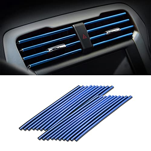 20 Pieces Car Air Conditioner Decoration Strip for Vent Outlet, Universal Waterproof Bendable Air Vent Outlet Trim Decoration, Suitable for Most Air Vent Outlet, Car Interior Accessories (Blue)