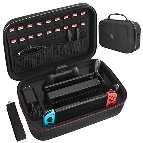 HEYSTOP Funda para Nintendo Switch, Funda Switch con 18 Ranuras para Tarjetas de Juego, Estuche Rígido de Transporte de Viaje Compatible con Nintendo Switch Consolas y Accessorios, Negro
