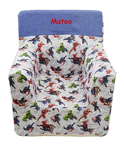 Borda y más Sillón o Asiento Infantil Personalizado de Espuma para bebés y niños. Varios Modelos y Colores Disponibles. (Marvel)