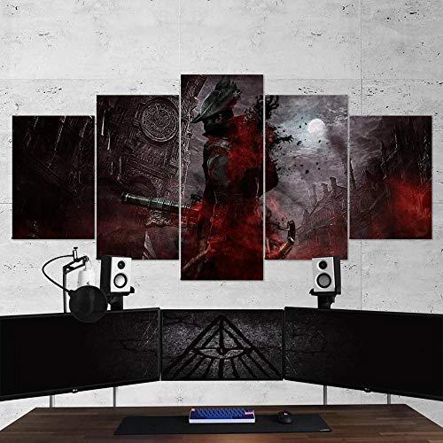 Gmoope Wandbild Leinwand Bloodborne 03 Gaming 5 Teilig Bilder Wohnzimmer Wohnung Deko 5 Stück Kunstdruck Modern Wandbilder XXL Format Wanddekoration Design Wand Bild