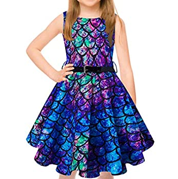 uideazone Twirling Girls Sundress Blue Purple Mermaid Fish Scale Prints Playwear Summer Sleeveless Casual Outfit Ruched Swing Dress with Belt 12-13 Years