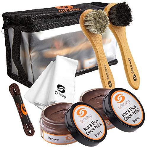 7pc Brown Leather Shoe and Boot Polish Kit – Brushes, Cloth, Case, Laces