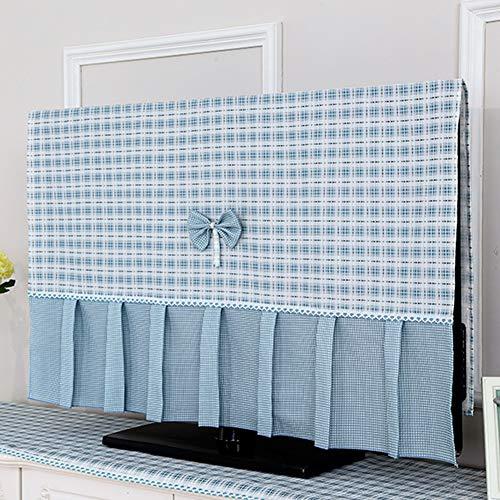 TINGTING Tv Abdeckung Staubtuch Hängen LCD Fernseher Staubschutzhaube Überwachen Gitter Bow Stoffkunst Monitorabdeckungen (Color : Blue, Size : 32 inches-78 * 47cm)
