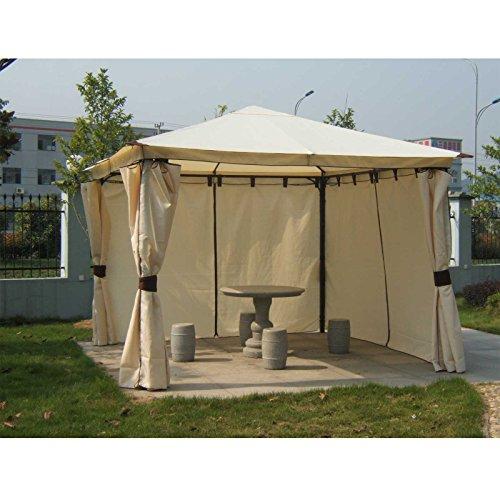 Gartenmoebel Pavillon Venezia 3×3 Meter, Stahl schwarz, Plane PVC-beschichtet Ecru Gartenpavillon Pavillonersatzdach Pavillonzubehör