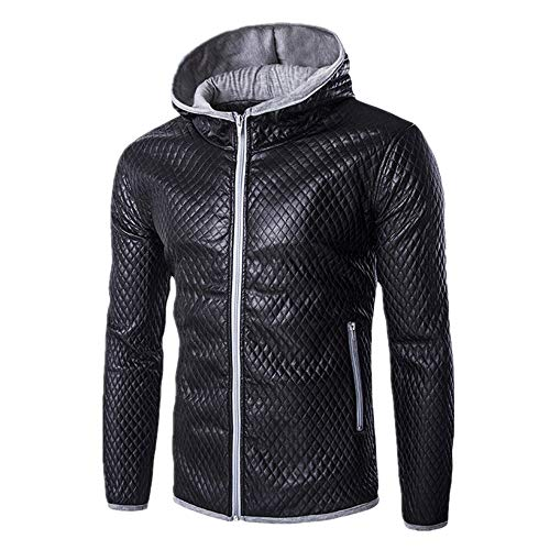 Chunmei Herren Sweatjacke mit Kapuze Slim Fit Modernes Hoodie-Cardigan Langarm Männer Freizeit-Kapuzen-Jacke für Winter Herren Sport Full-Zip Sweatshirt Basic warm All-Match Übergangsmantel L