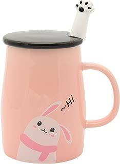 Angelice Home Pink Cute Bunny Mug Funny Ceramic Coffee Mug with Stainless Steel Spoon, Novelty Coffee Mug Gift for Rabbit Lovers