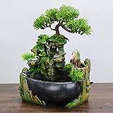 Jingyu Fuente Mesa Fuente Interior, Fuente decoración jardín Roca Resina, Adorno Escritorio Planta Cascada, Regalo decoración del hogar