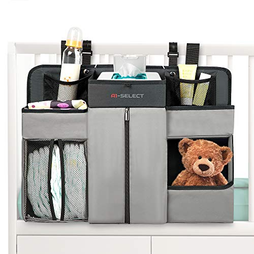 Baby Nursery Diaper Organizer - Hanging Caddy Accessory Organizer for Baby Crib, Playard, Changing Table (Grey)