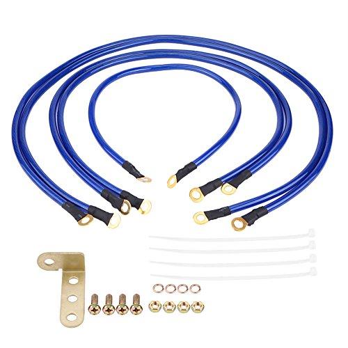 Qiilu Fil de mise à la terre de voiture, kit de fil de mise à la terre universel de système de câble de terre de voiture automatique de 5 points