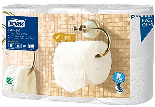 TORK 110318 Extra Doux Rouleau Traditionnel Papier Toilette 3 Plis Mandrin Aquatube 6 Rouleaux Lot de 2