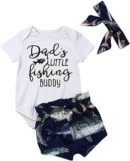 Newborn Infant Baby Girls Boys Clothes Letter Print Romper Bodysuit Cute Fishing Ruffles Shorts Pants Headband Outfits Set