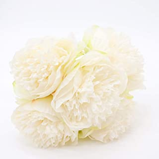 Yunuo Artificial Peony Silk Flowers 5 Flower Heads European for Wedding Brial Bouquet Home Party Decor Gift (White)