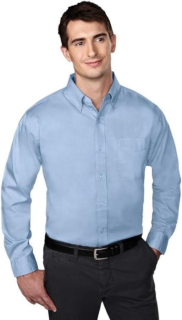 Tri-mountain Mens cotton/poly wrinkle free pinpoint oxford shirt. 780 - LIGHT BLUE_2XLT