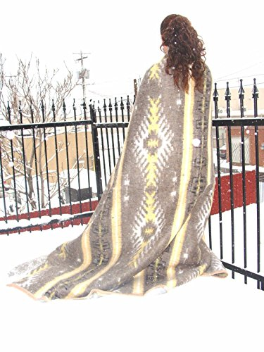 Sanyork #5 Assorted Brushed Alpaca Blend Recycled Wool Blanket Reversible Warm 78' x 96'